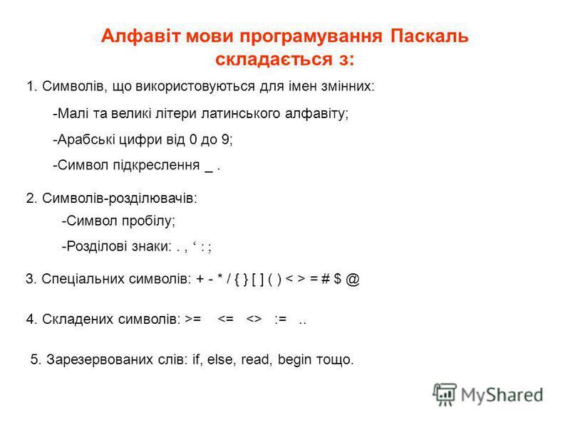 Алфавіт мови програмування Паскаль складається з: 1. Символів, що використовуються для імен змінних: 2. Символів-розділювачів: -Малі та великі літери латинського алфавіту; -Арабські цифри від 0 до 9; -Символ підкреслення _. -Символ пробілу; -Розділов