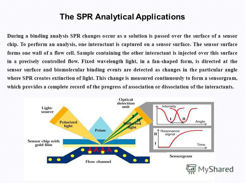 The SPR Analytical Applications During a binding analysis SPR changes occur as a solution is passed over the surface of a sensor chip. To perform an analysis, one interactant is captured on a sensor surface. The sensor surface forms one wall of a flo