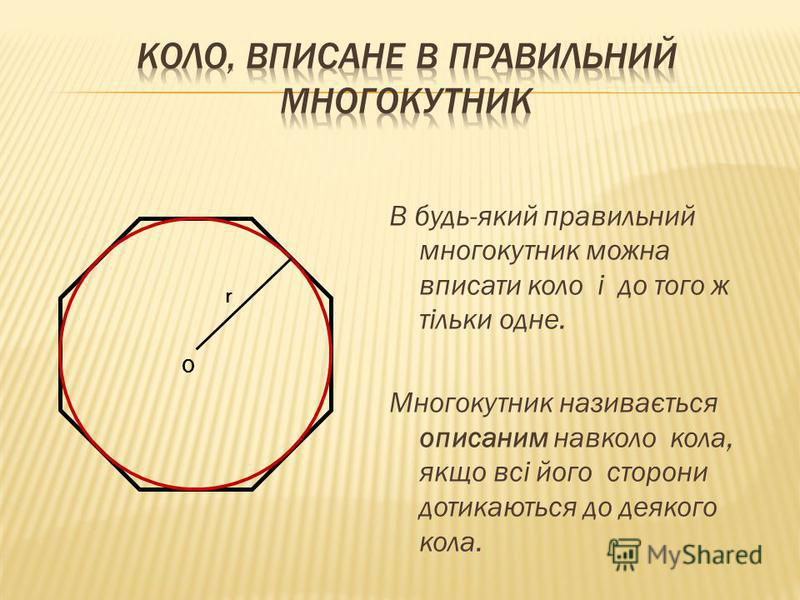 В будь-який правильний многокутник можна вписати коло і до того ж тільки одне. Многокутник називається описаним навколо кола, якщо всі його сторони дотикаються до деякого кола. О r