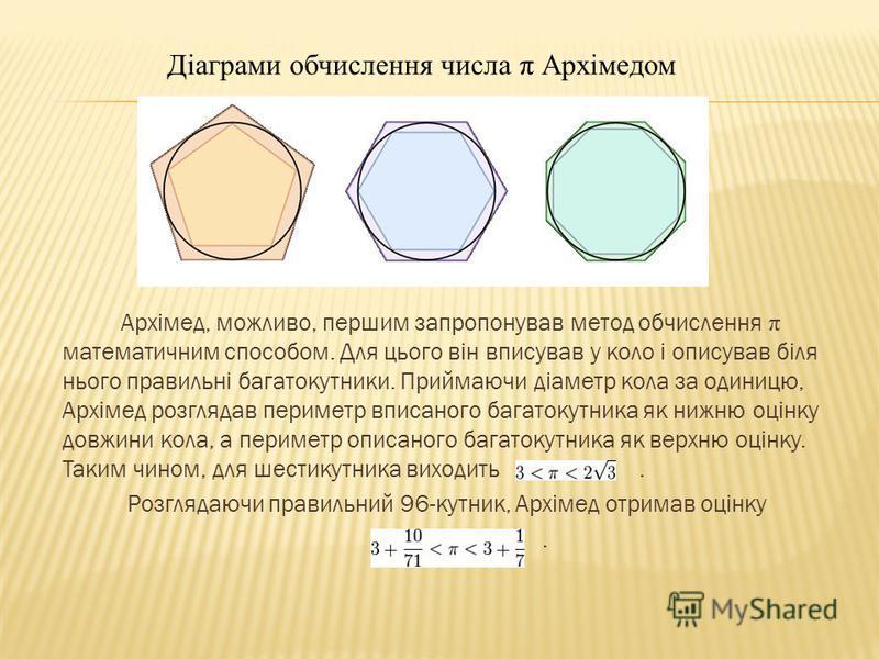 Архімед, можливо, першим запропонував метод обчислення π математичним способом. Для цього він вписував у коло і описував біля нього правильні багатокутники. Приймаючи діаметр кола за одиницю, Архімед розглядав периметр вписаного багатокутника як нижн