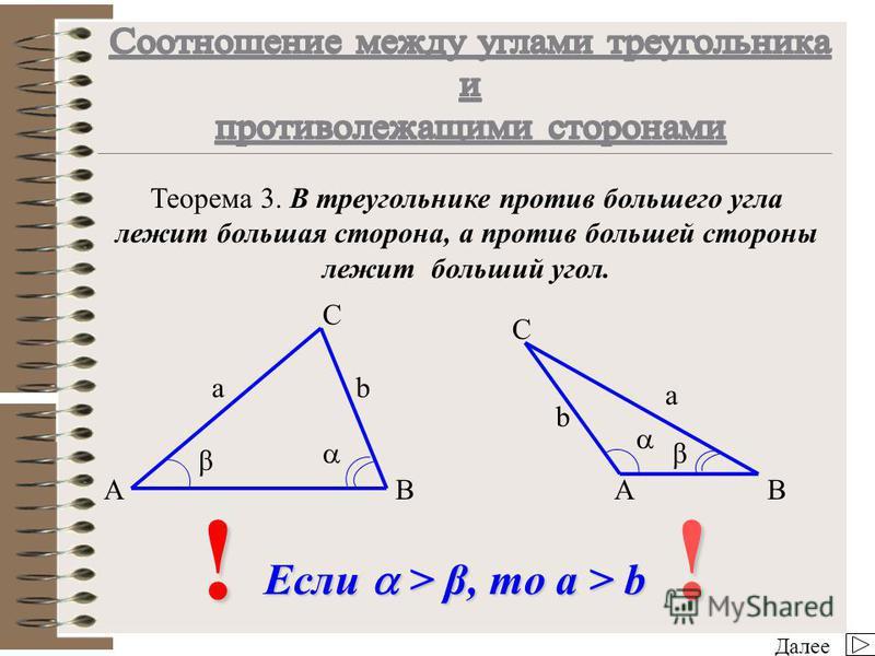 Далее Теорема 2. Стороны треугольника пропорциональны синусам противолежащих углов. AB C !! AB C a/sin = b/sin β = c/sin γ a b c a b c β β γ γ