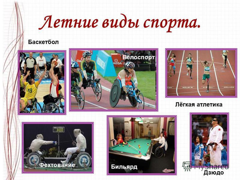 Летние виды спорта. Бильярд Лёгкая атлетика Велоспорт Фехтование Дзюдо Баскетбол