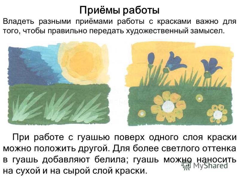 Приёмы работы Владеть разными приёмами работы с красками важно для того, чтобы правильно передать художественный замысел. При работе с гуашью поверх одного слоя краски можно положить другой. Для более светлого оттенка в гуашь добавляют белила; гуашь