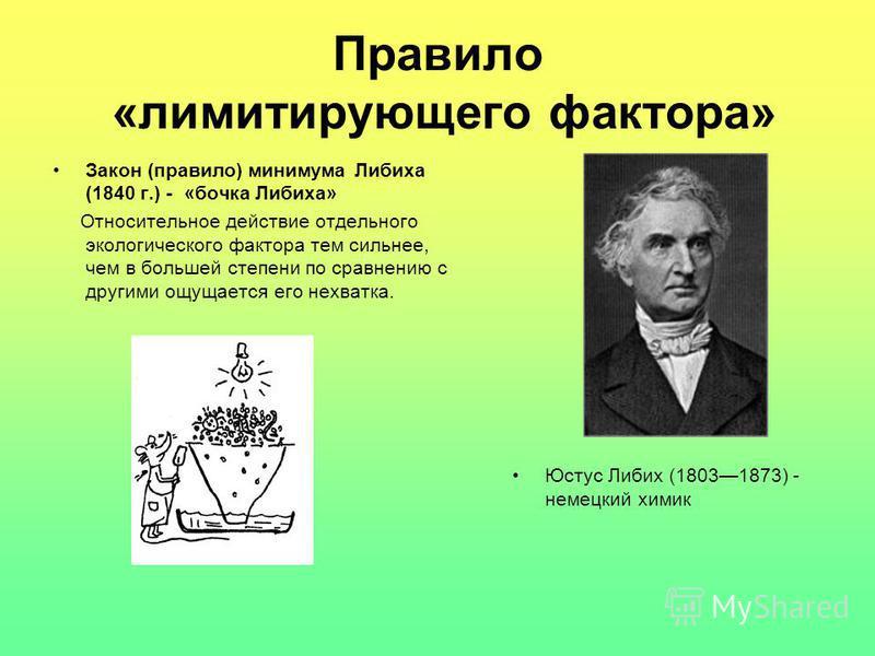 Правило «лимитирующего фактора» Закон (правило) минимума Либиха (1840 г.) - «бочка Либиха» Относительное действие отдельного экологического фактора тем сильнее, чем в большей степени по сравнению с другими ощущается его нехватка. Юстус Либих (1803187