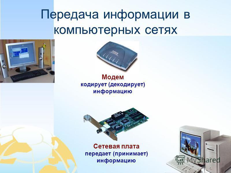 Передача информации в компьютерных сетях Сетевая плата передает (принимает) информацию Модем кодирует (декодирует) информацию