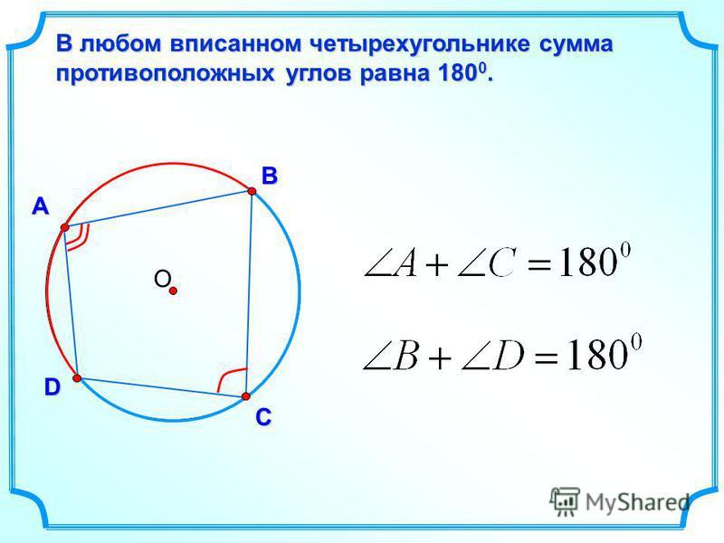 О А В D В любом вписанном четырехугольнике сумма противоположных углов равна 180 0. С