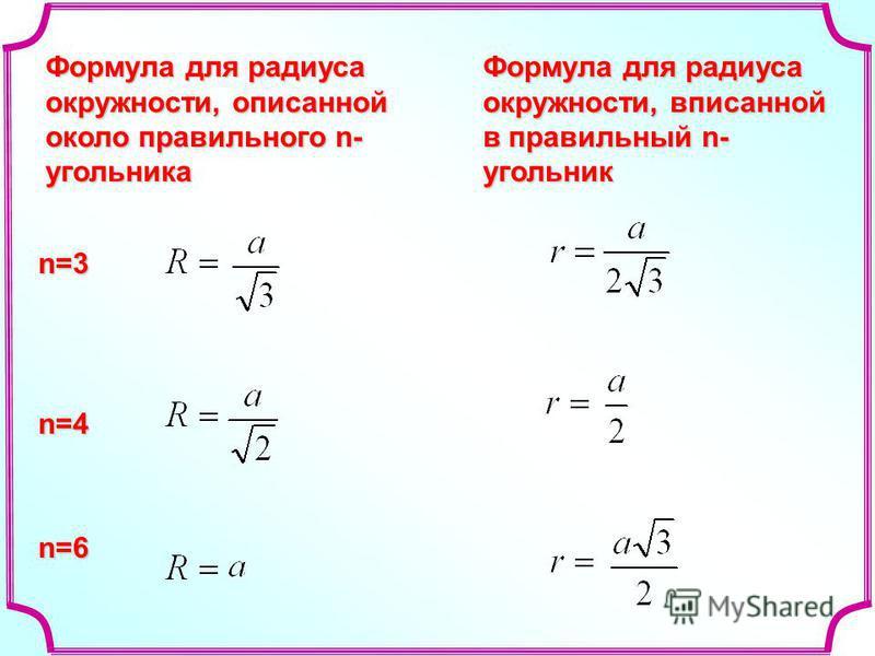Формула для радиуса окружности, описанной около правильного n- угольника n=3 n=4 n=6 Формула для радиуса окружности, вписанной в правильный n- угольник