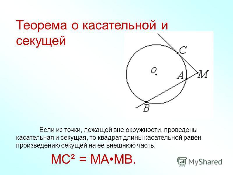Теорема о касательной и секущей Если из точки, лежащей вне окружности, проведены касательная и секущая, то квадрат длины касательной равен произведению секущей на ее внешнюю часть: MC² = MAMB.