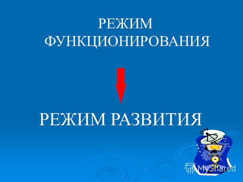 РЕЖИМ РАЗВИТИЯ РЕЖИМ ФУНКЦИОНИРОВАНИЯ