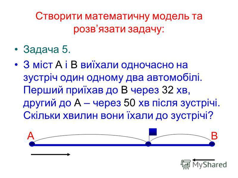 Створити математичну модель та розвязати задачу: Задача 5. З міст А і В виїхали одночасно на зустріч один одному два автомобілі. Перший приїхав до В через 32 хв, другий до А – через 50 хв після зустрічі. Скільки хвилин вони їхали до зустрічі? А В