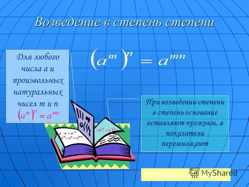 Возведение в степень степени Для любого числа a и произвольных натуральных чисел m и n При возведении степени в степень основание оставляют прежним, а показатели перемножают Вернуться к вопросу