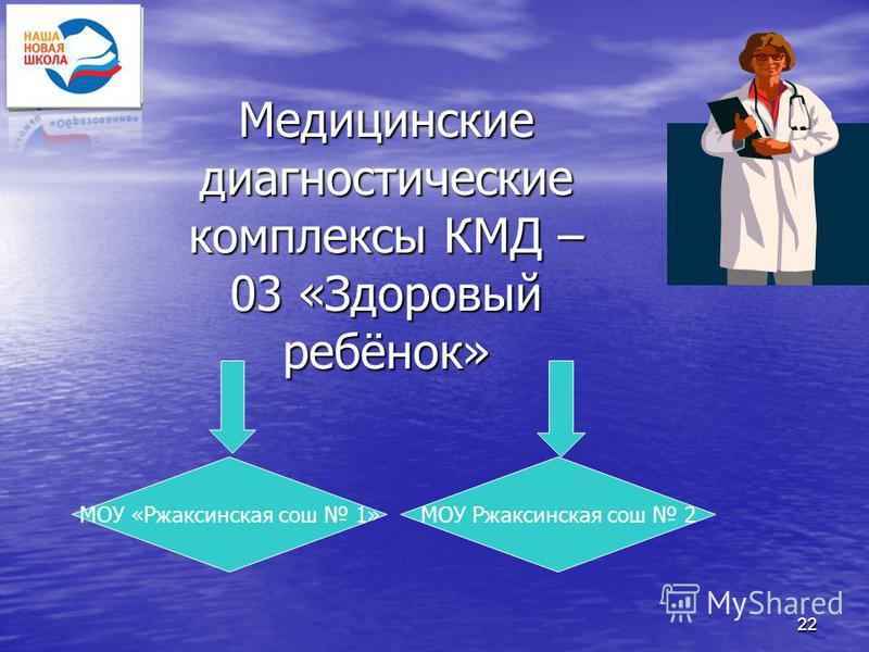 22 Медицинские диагностические комплексы КМД – 03 «Здоровый ребёнок» МОУ «Ржаксинская сош 1»МОУ Ржаксинская сош 2
