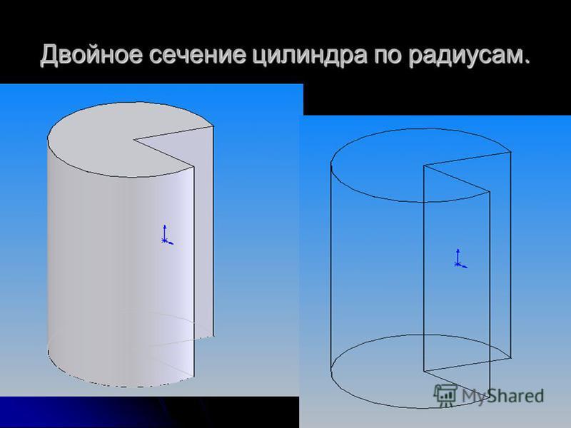 Двойное сечение цилиндра по радиусам.