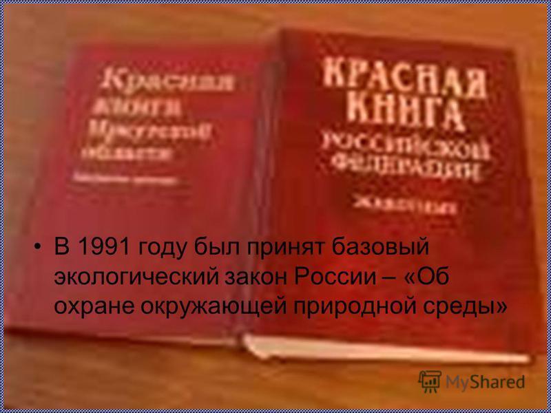 В 1991 году был принят базовый экологический закон России – «Об охране окружающей природной среды»