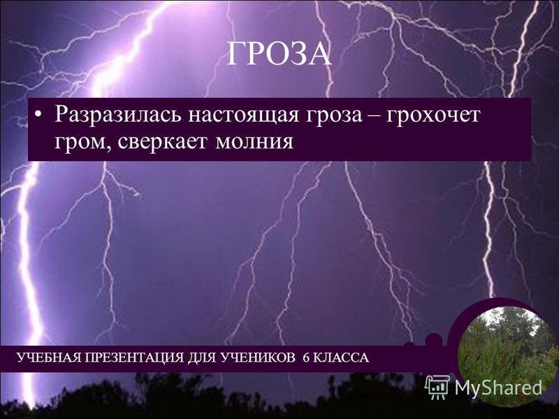 ГРОЗА Разразилась настоящая гроза – грохочет гром, сверкает молния УЧЕБНАЯ ПРЕЗЕНТАЦИЯ ДЛЯ УЧЕНИКОВ 6 КЛАССА