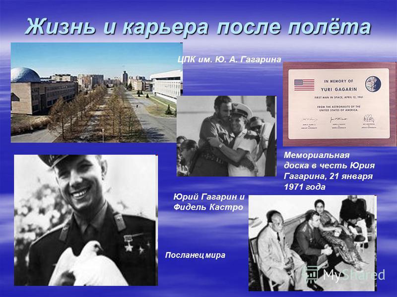 Жизнь и карьера после полёта ЦПК им. Ю. А. Гагарина Мемориальная доска в честь Юрия Гагарина, 21 января 1971 года Юрий Гагарин и Фидель Кастро Посланец мира