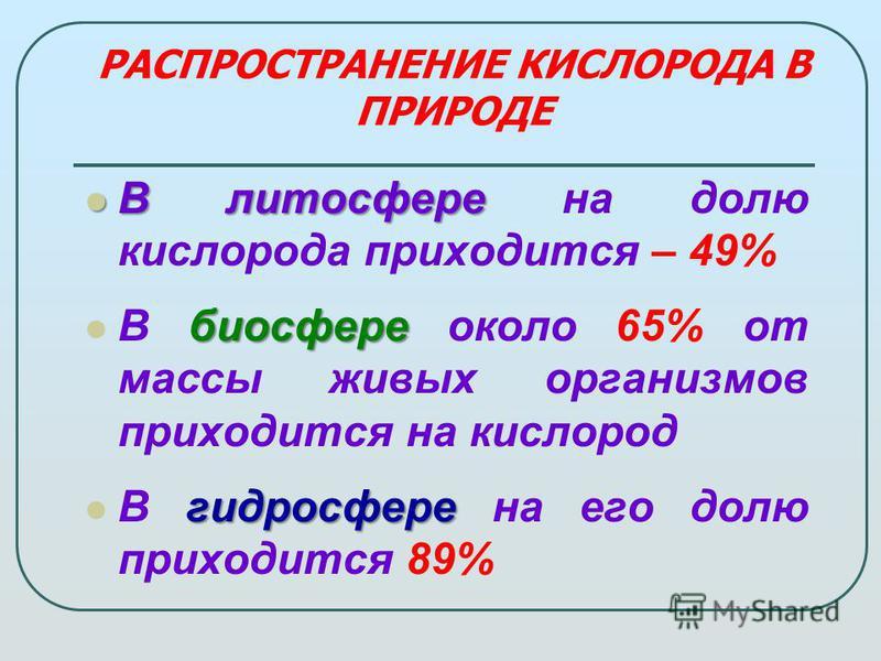 РАСПРОСТРАНЕНИЕ КИСЛОРОДА В ПРИРОДЕ В литосфере В литосфере на долю кислорода приходится – 49% биосфере В биосфере около 65% от массы живых организмов приходится на кислород гидросфере В гидросфере на его долю приходится 89%