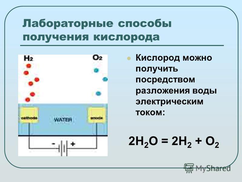 Лабораторные способы получения кислорода Кислород можно получить посредством разложения воды электрическим током: 2H 2 O = 2H 2 + O 2