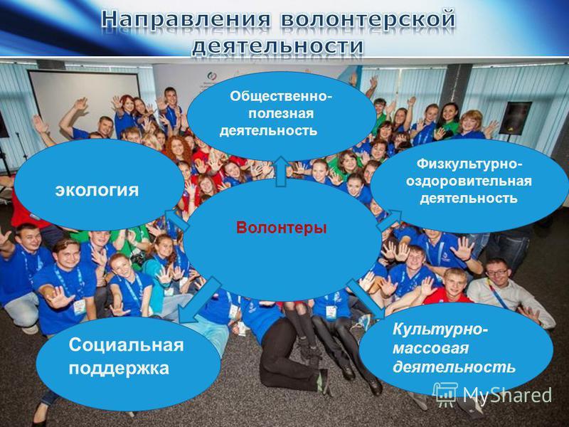 Волонтеры Физкультурно- оздоровительная деятельность Культурно- массовая деятельность Социальная поддержка экология Общественно- полезная деятельность