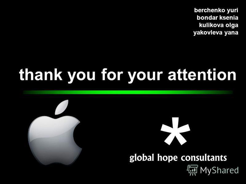 thank you for your attention berchenko yuri bondar ksenia kulikova olga yakovleva yana