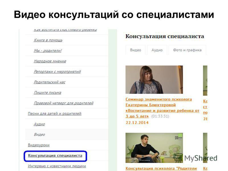 Видео консультаций со специалистами