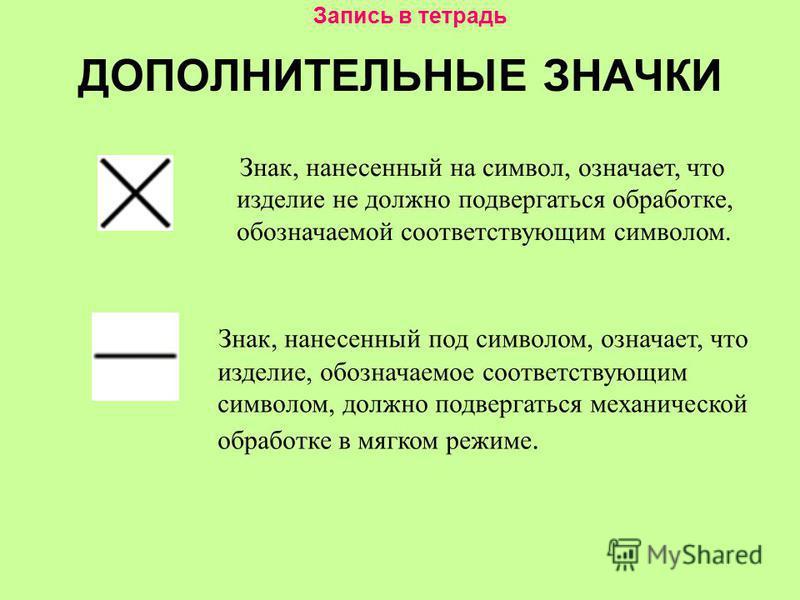 ДОПОЛНИТЕЛЬНЫЕ ЗНАЧКИ Знак, нанесенный на символ, означает, что изделие не должно подвергаться обработке, обозначаемой соответствующим символом. Знак, нанесенный под символом, означает, что изделие, обозначаемое соответствующим символом, должно подве