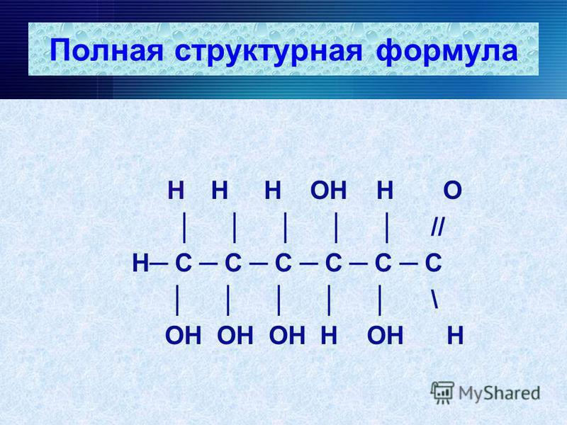 Полная структурная формула Н Н Н ОН Н О // Н С С С С С С \ ОН ОН ОН Н ОН Н