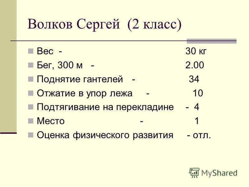 Тишкина Юлия (1 класс) Вес - 24 кг Бег, 300 м - 2.00 Поднятие гантелей - 8 Отжатие в упор лежа (с поддержкой ног) - 16 Подтягивание на перекладине (лёжа) - 6 Место - 5 Оценка физического развития - хор.
