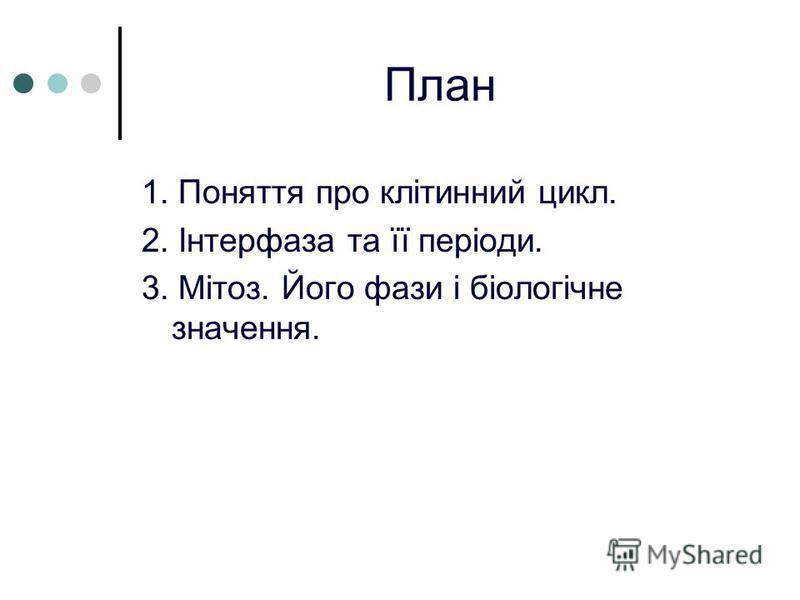 План 1. Поняття про клітинний цикл. 2. Інтерфаза та її періоди. 3. Мітоз. Його фази і біологічне значення.