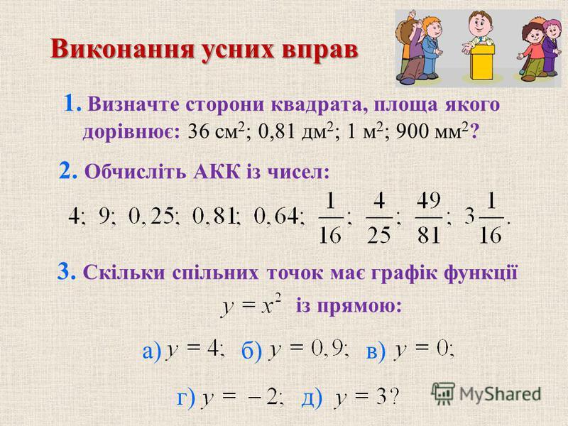 1. Визначте сторони квадрата, площа якого дорівнює: 36 см 2 ; 0,81 дм 2 ; 1 м 2 ; 900 мм 2 ? 3. Скільки спільних точок має графік функції із прямою: б) в) г) д) 2. Обчисліть АКК із чисел: Виконання усних вправ а)