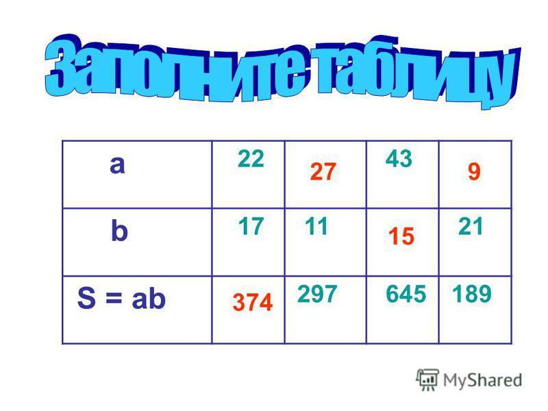 a 22 43 b 17 11 21 S = ab 297 645 189 374 27 15 9