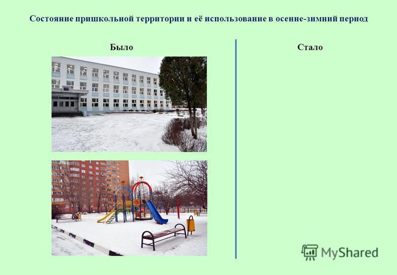 Состояние пришкольной территории и её использование в осенне-зимний период Стало Было