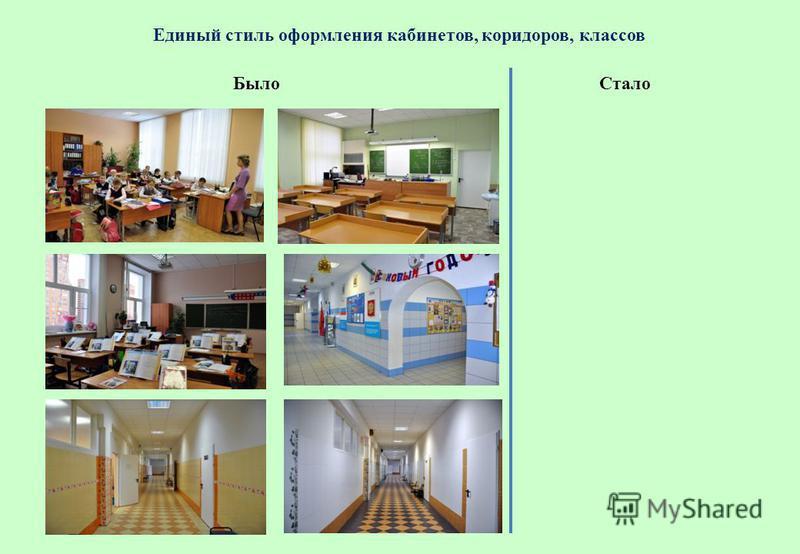 Единый стиль оформления кабинетов, коридоров, классов Стало Было