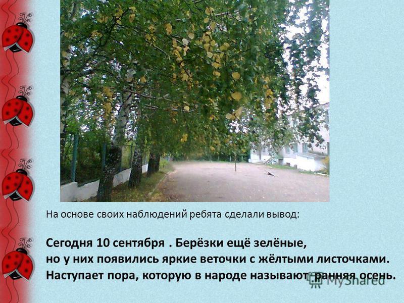 На основе своих наблюдений ребята сделали вывод: Сегодня 10 сентября. Берёзки ещё зелёные, но у них появились яркие веточки с жёлтыми листочками. Наступает пора, которую в народе называют ранняя осень.