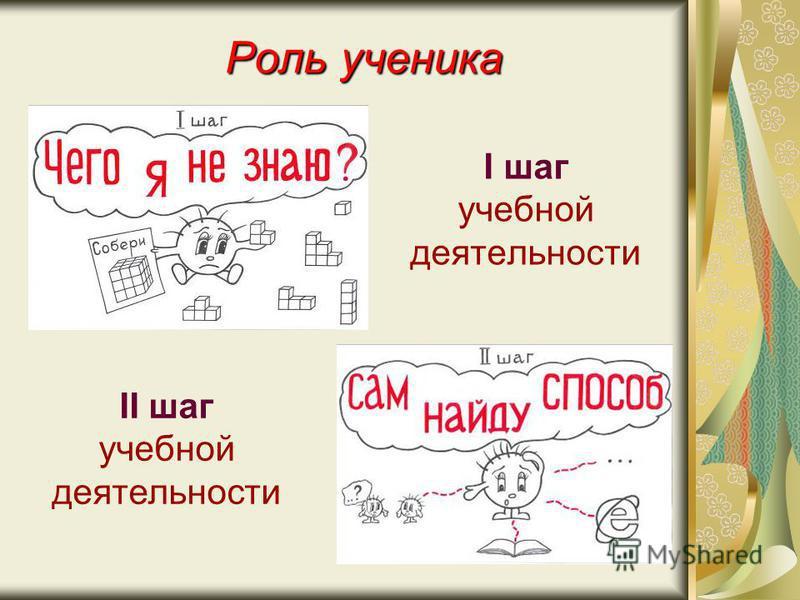 Роль ученика I шаг учебной деятельности II шаг учебной деятельности