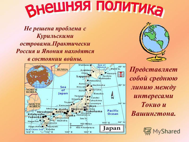 Представляет собой среднюю линию между интересами Токио и Вашингтона. Не решена проблема с Курильскими островами.Практически Россия и Япония находятся в состоянии войны.