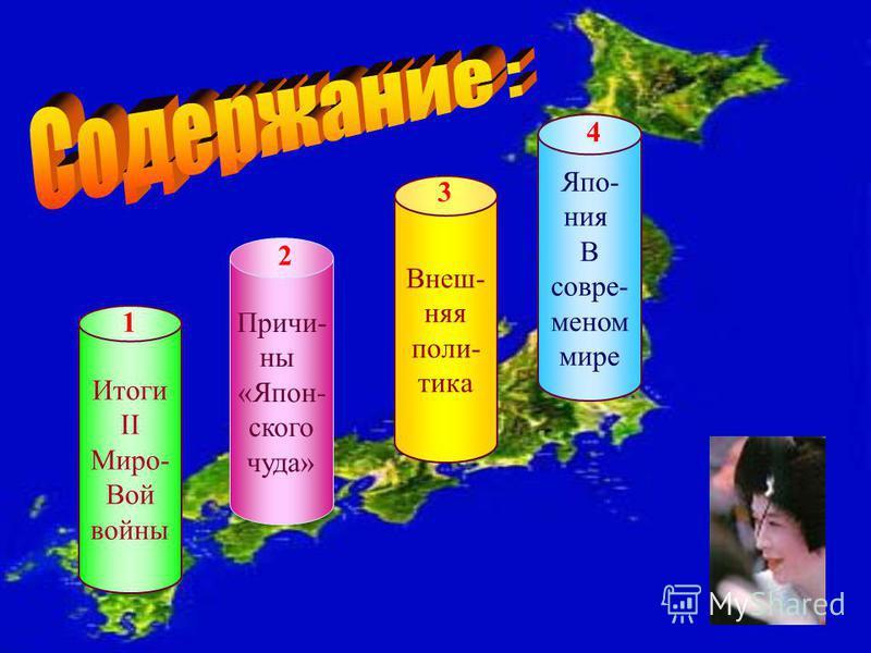 Итоги II Миро- Вой войны 1 Причи- ны «Япон- ского чуда» 2 Внеш- няя поли- тика 3 Япо- ния В современном мире 4