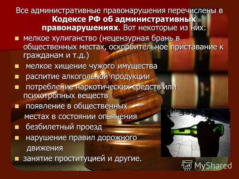 Все административнонуюные правонарурешенияния перечислены в Кодексе РФ об административнонуюных правонарурешенияниях. Вот некоторые из них: мелкое хулиганство (нецензурная брань в общественных местах, оскорбительное приставание к гражданам и т.д.) ме