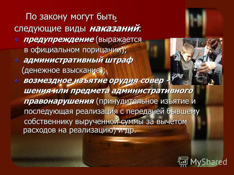 - По закону могут быть По закону могут быть следующие виды наказаний: предупреждение (выражается в официальном порицании); в официальном порицании); административнонуюный штраф (денежное взыскание); (денежное взыскание); возмездное изъятие орудия сов