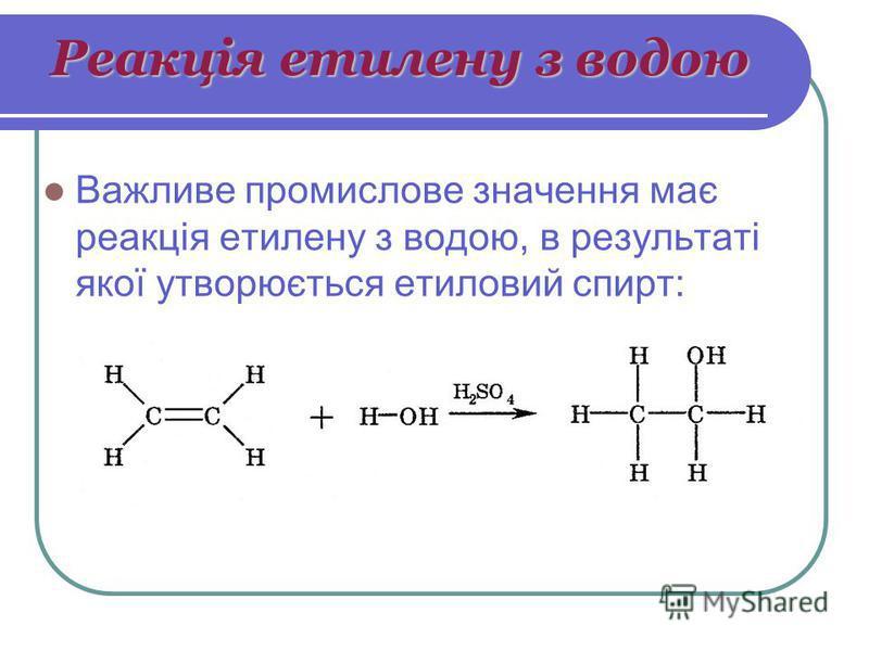 Реакція етилену з водою Важливе промислове значення має реакція етилену з водою, в результаті якої утворюється етиловий спирт: