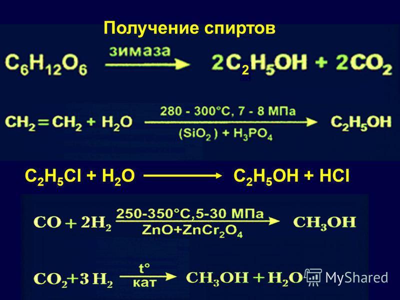 2 Получение спиртов C 2 H 5 Cl + H 2 O C 2 H 5 OH + HCl