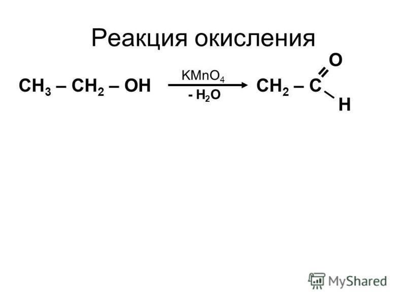 Реакция окисления CH 3 – CH 2 – OH CH 2 – C = O H KMnO 4 - H 2 O