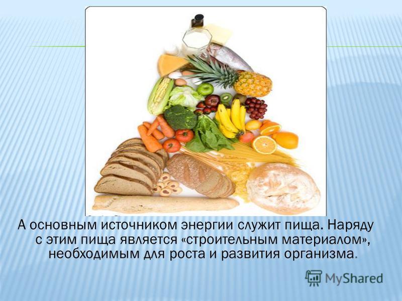 А основным источником энергии служит пища. Наряду с этим пища является «строительным материалом», необходимым для роста и развития организма.