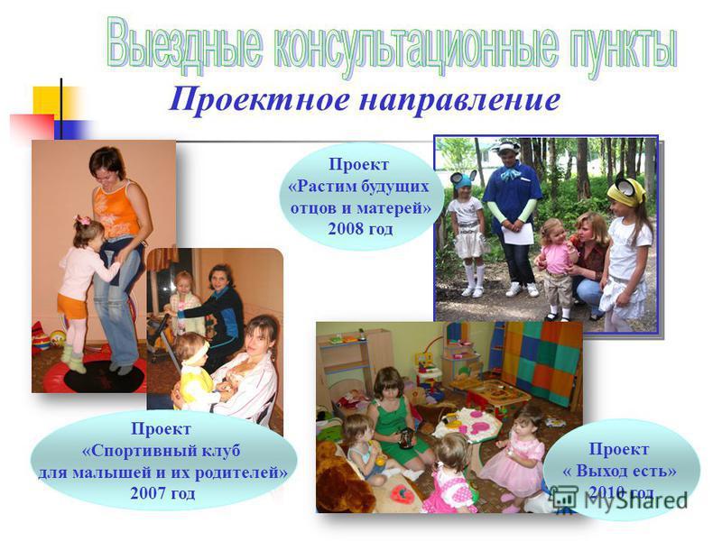 Проектное направление Проект «Спортивный клуб для малышей и их родителей» 2007 год Проект «Растим будущих отцов и матерей» 2008 год Проект « Выход есть» 2010 год