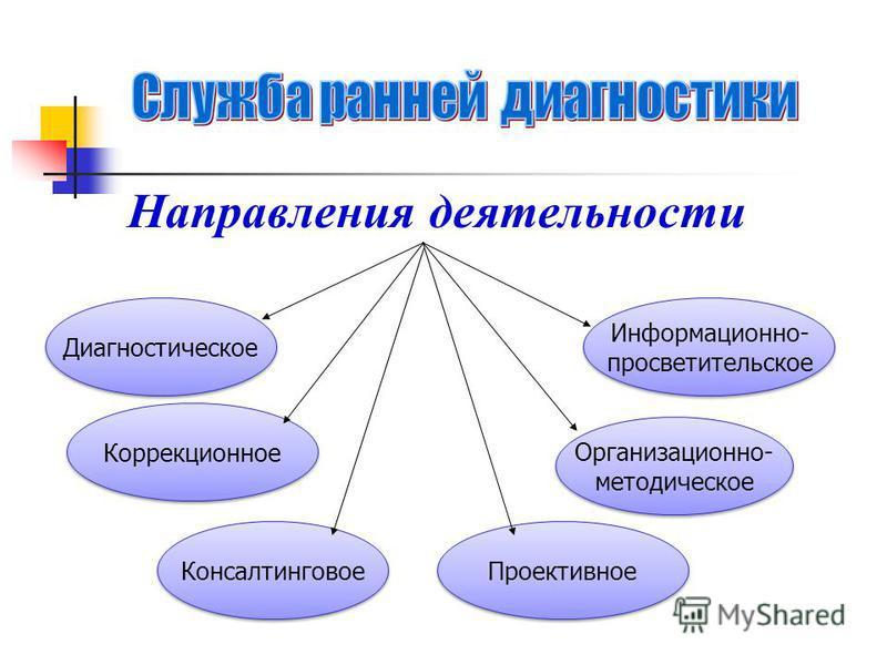 Направления деятельности Диагностическое Коррекционное Консалтинговое Информационно- просветительское Информационно- просветительское Организационно- методическое Организационно- методическое Проективное