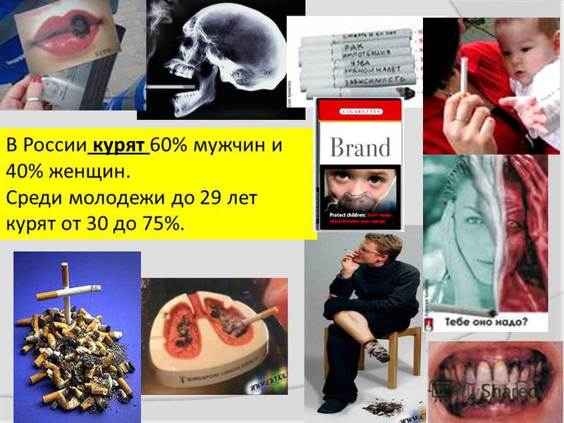 В России курят 60% мужчин и 40% женщин. Среди молодежи до 29 лет курят от 30 до 75%.