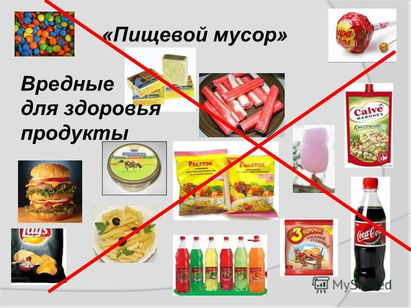 «Пищевой мусор» Вредные для здоровья продукты