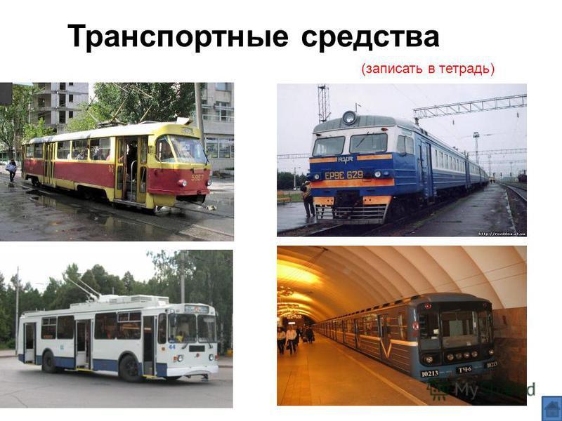 (записать в тетрадь) Транспортные средства