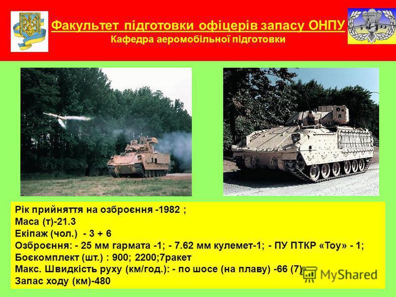 Факультет підготовки офіцерів запасу ОНПУ Кафедра аеромобільної підготовки Рік прийняття на озброєння -1982 ; Маса (т)-21.3 Екіпаж (чол.) - 3 + 6 Озброєння: - 25 мм гармата -1; - 7.62 мм кулемет-1; - ПУ ПТКР «Тоу» - 1; Боєкомплект (шт.) : 900; 2200;7