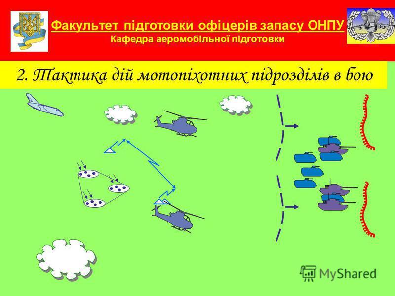 Факультет підготовки офіцерів запасу ОНПУ Кафедра аеромобільної підготовки 2. Тактика дій мотопіхотних підрозділів в бою